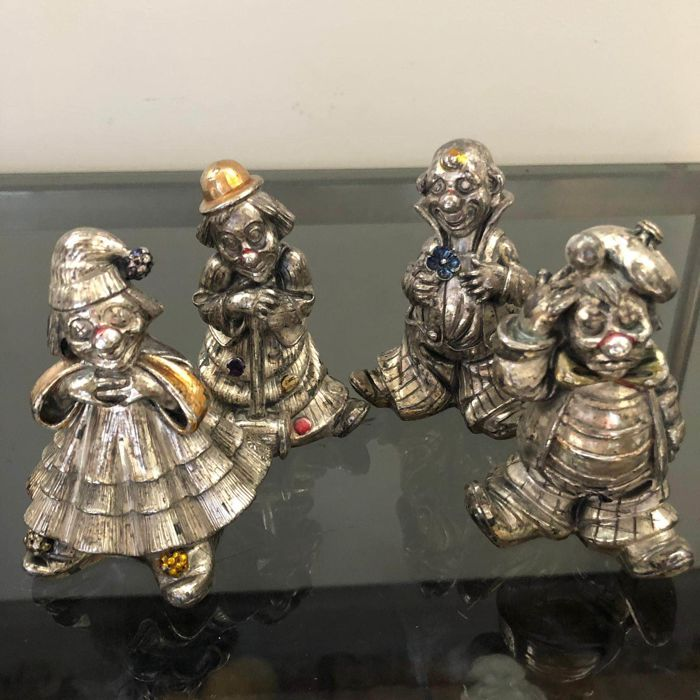 A.Lucchesi - Silver clown figurines (4) - .800 silver