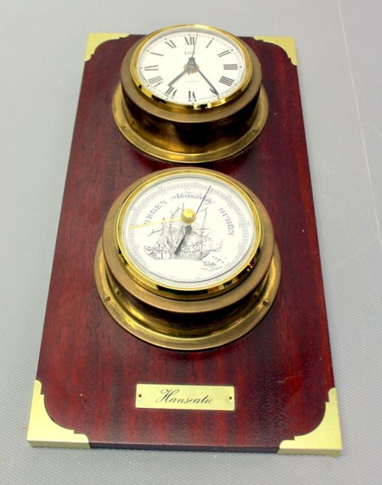 Wall tableau with clock and barometer - Brass, Wood- Mahogany