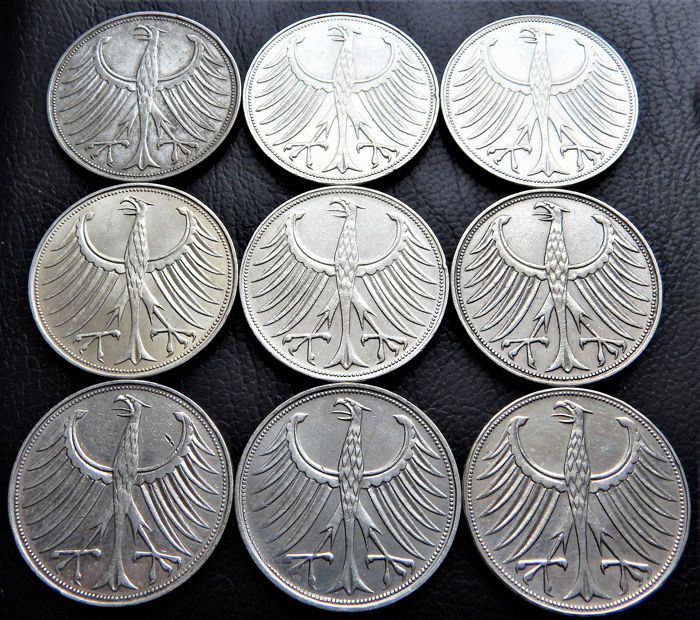 Germany, Federal Republic - 9 x 5 Mark 1958D, 1958F, 1958G, 1959D, 1959G, 1959J, 1961D, 1963F, 1963G - Silver