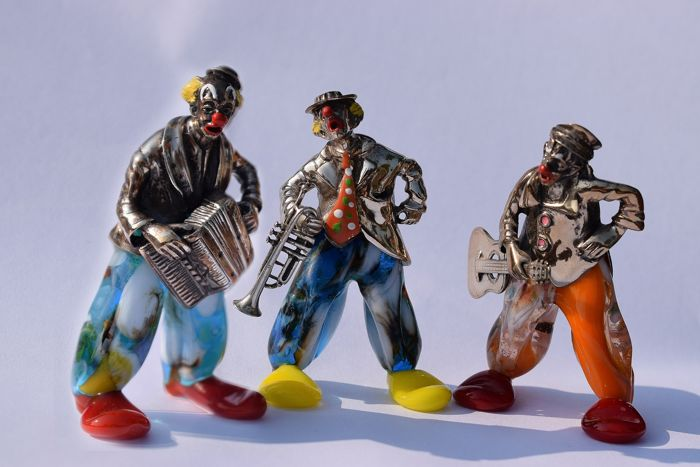 Silver miniature (3) - .800 silver - Angini Clowns - Italy - Second half 20th century