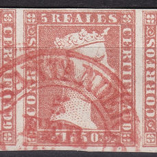 Spanje 1850 - Isabella II. 5 reales red. Strip of 5 stamps with dater from Santander. Roig expertisation mark - Edifil 3