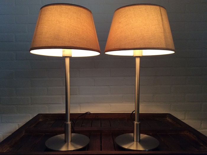 Lorefar - Two chic table / bed lamps with modern lampshades (2) - Steel (stainless)