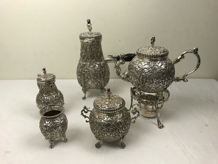 Coffee and tea service (6) - .925 silver - A. de Groot-Boersma - Netherlands - Second half 19th century