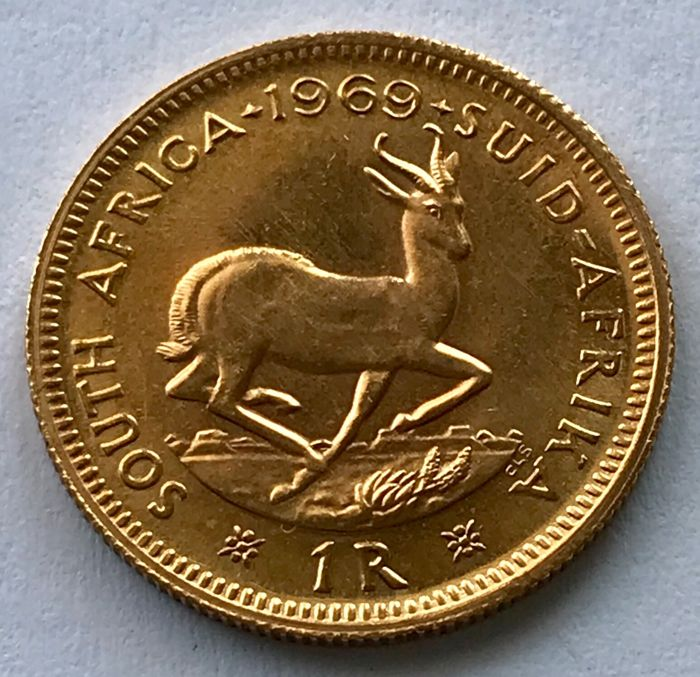 South Africa - 1 Rand 1969 - Springbok - Gold