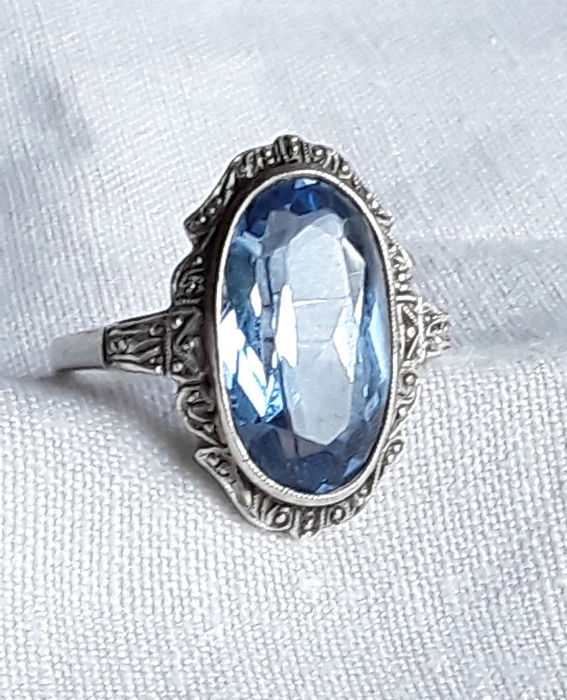 835 Silver - Ring Blue stone