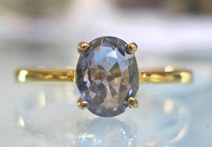 14 kt. Gold - Ring - 0.95 ct Sapphire