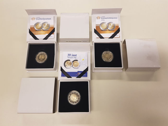 The Netherlands - 3x 2 Euro Proof 2013-2015