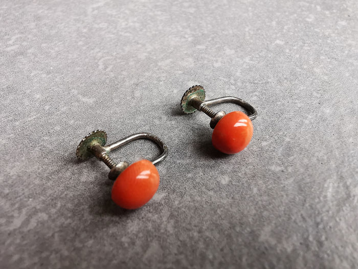 835 Silver - Earrings Blood coral