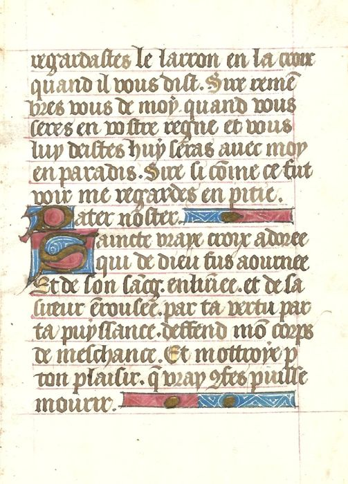 Manuscript; One sheet with illuminated initials from a French prayers book - XV century