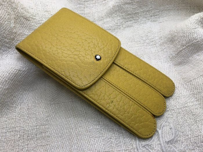 Montblanc - Vintage Pen Pouch Case for 3 Pens Yellow Leather