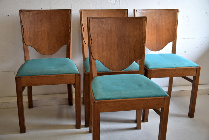 Wondrous Beautiful Set Of Oak Dining Chairs Produced In The Netherlands Around 1935 Art Deco Style Catawiki Machost Co Dining Chair Design Ideas Machostcouk