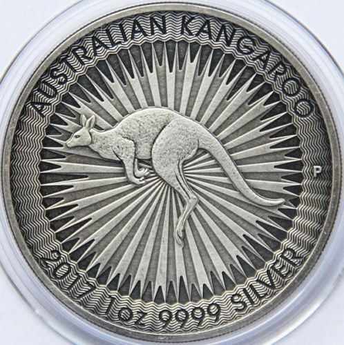Australia - 1 Dollar 2017 Kangaroo - Antique Finish - 1 oz - Silver