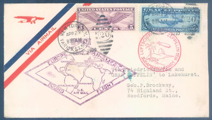 Verenigde Staten 1930 - Graf Zeppelin 1st Southamericaflight 1930. 65 cents - 2.60$ on real flown covers/cards - Sieger 64C,64G,64F