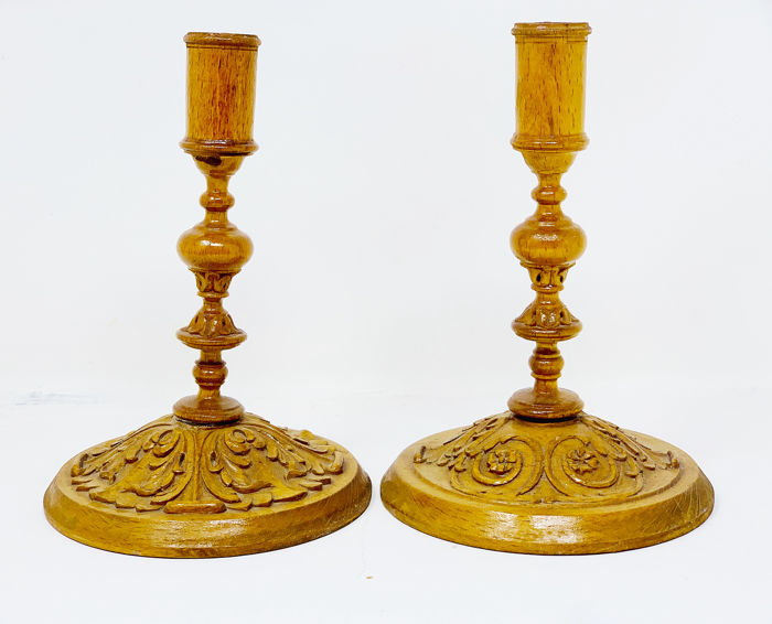 Cesar Bagard - Antique wooden candle holder (2) - Baroque - Wood