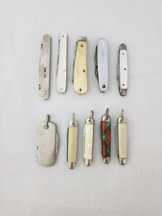 Engeland - Lot of 10 Various silver,mother of pearl,etc. - Pen mes, Vouwmes, Zakmes