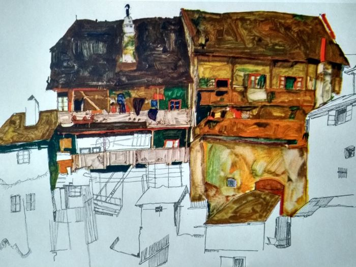 Egon Schiele (1890 - 1918) - 2 prints of buildings from 1913/14