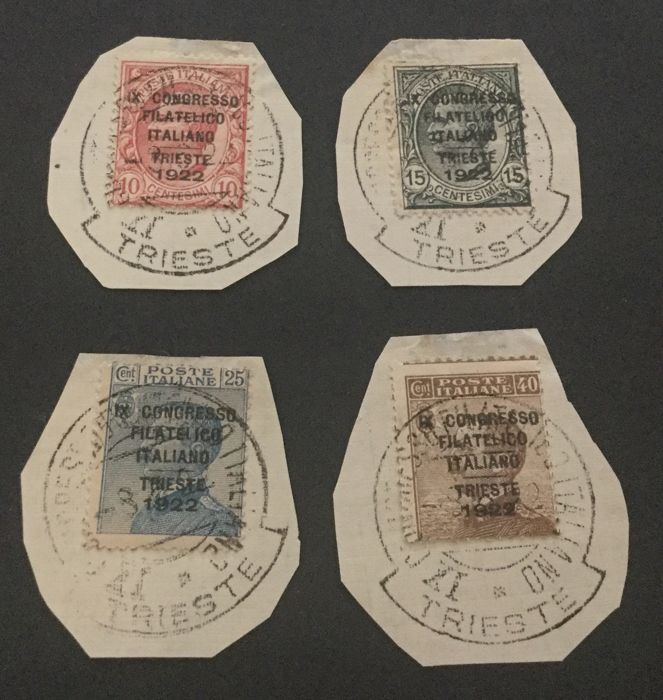 Italy Kingdom 1922 - Philatelic Congress complete set on four fragments with cancellation of the event - Sassone NN. 123/126