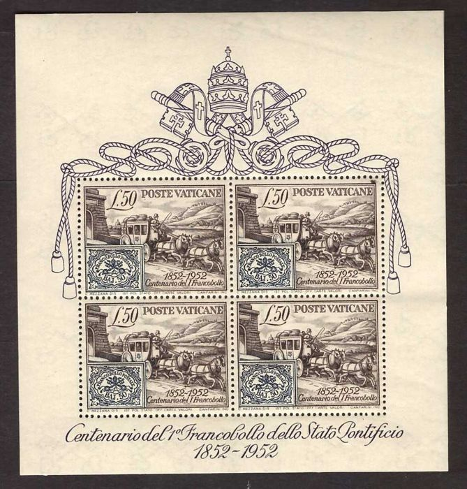Vatican City 1952 - Centenary of the first stamp souvenir sheet - Sassone N. 1