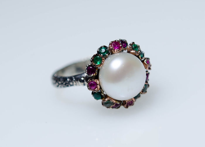 925 Silver - Ring with natural Emeralds, Rubys and Pearl