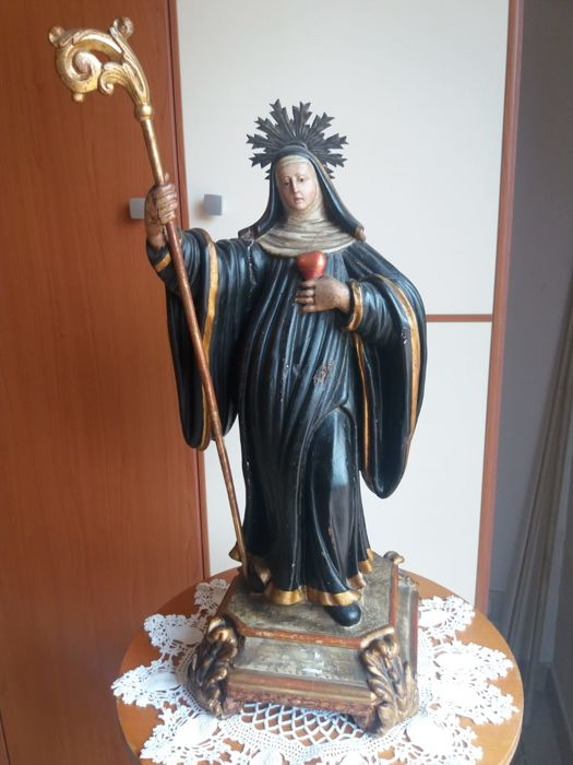 Saint Gertrude the Great - impressive polychrome wooden sculpture, with pure gold inserts - late 18th century