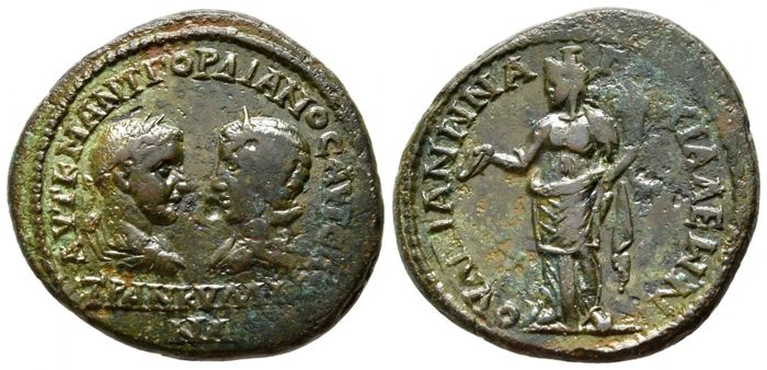 Empire romain - Provincial. Thrace, Anchialos. AE 28, Gordian III with Tranquillina (AD 238-244)