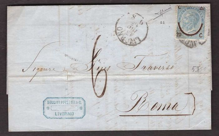 Italy Kingdom 1865 - 20 c. on 15 c. 1st type smaller than normal on envelope from Livorno to Rome - Sassone N. 23 varietà