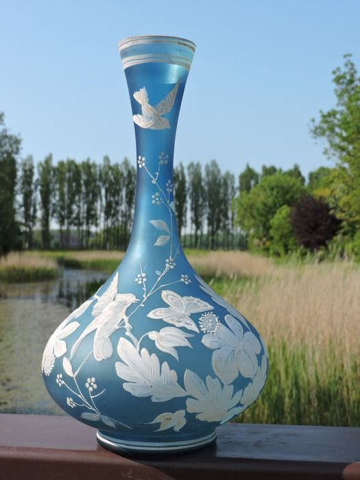 Blue enameled vase with birds and butterflies - Glass
