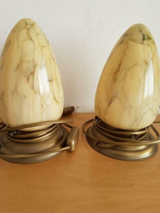 2 table lamps - Art Deco - glass and metal