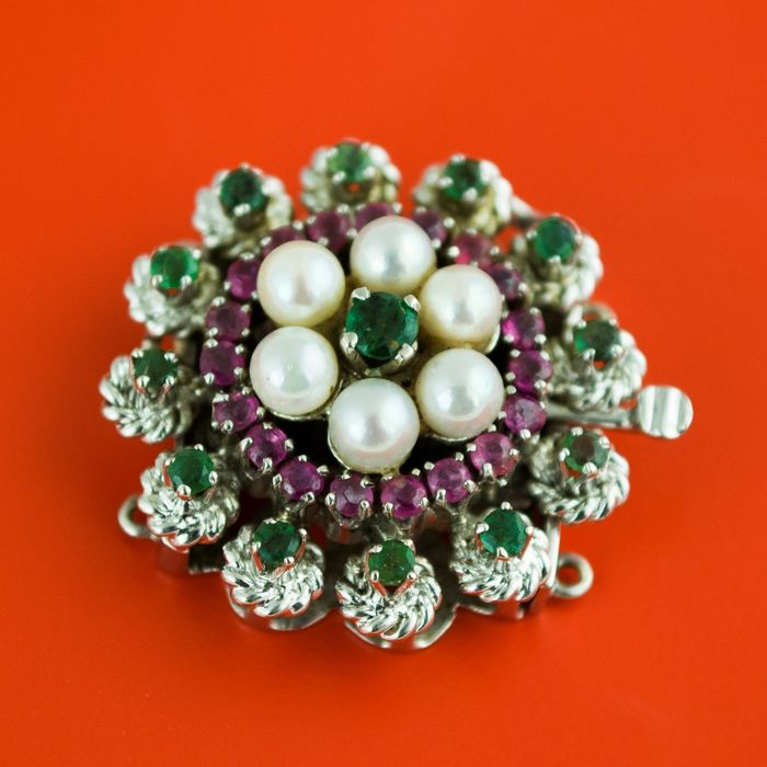 Luxury Antique  - 18 kt. White gold - Clasp Attachment Emerald - Pearl, Ruby