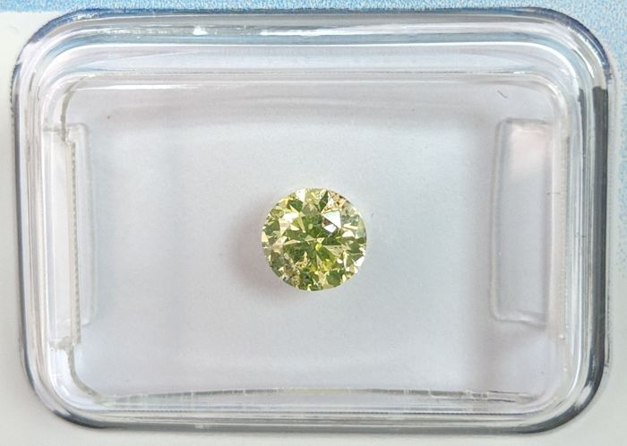 Diamante - 0.51 ct - Brillante - fancy yellow green - I1, IGI Antwerp - No Reserve Price