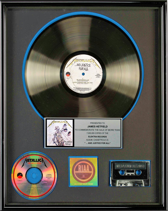 Metallica - And Justice For All - presented to James Hetfield - Official RIAA award - 1988/1988