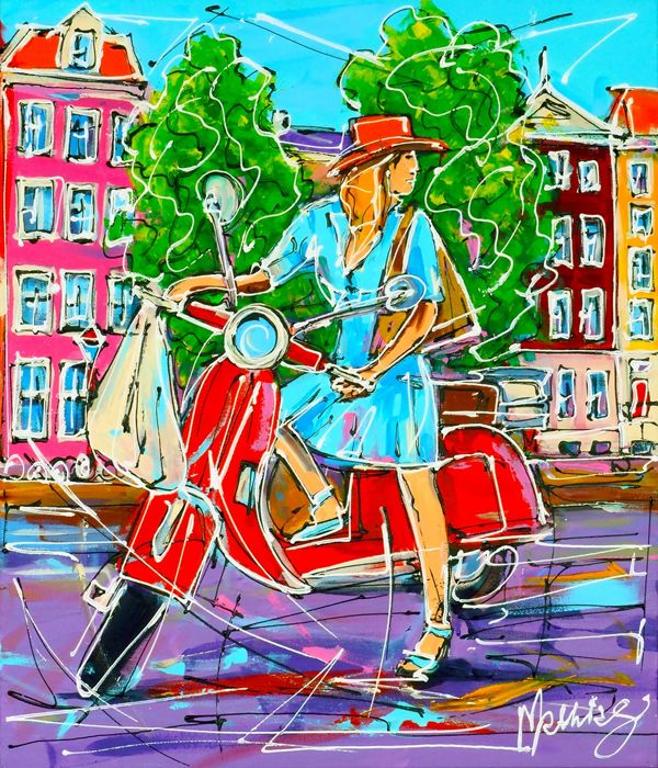 Mathias - Street of Amsterdam, blue girl on the scooter