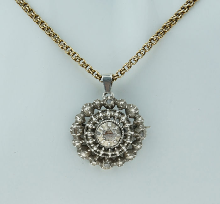 Victoriaans - 14 kt. Gold - Necklace with pendant Diamond