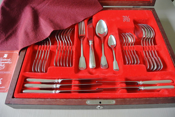 Cutlery set - .800 silver - WMF - Augsburger Faden - Germany - Second half 20th century