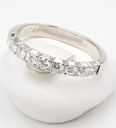 14 karat Hvitt gull - Diamantring - 585 Hvitt gull - 9 Diamanter, 0,54 ct. - 0.54 ct Diamant