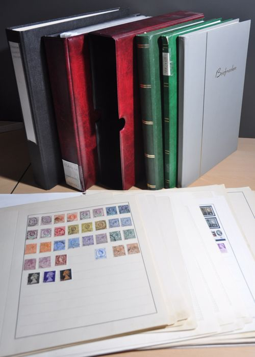 Commonwealth británica - Batch in luxury binding with slipcase, folder, sheets and various stock books