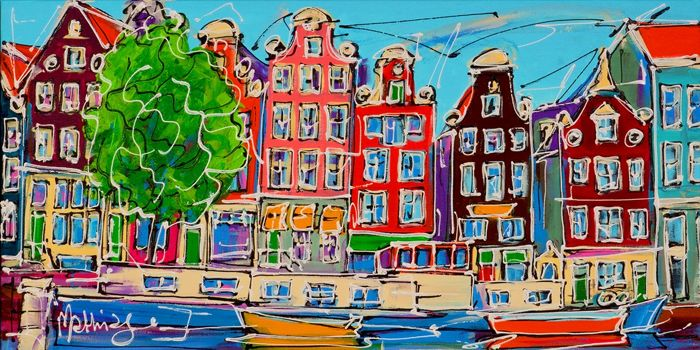 Mathias - Canal of Amsterdam, colored houses
