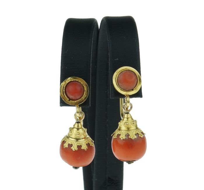 Vintage - 14 kt. Yellow gold - Earrings Blood coral