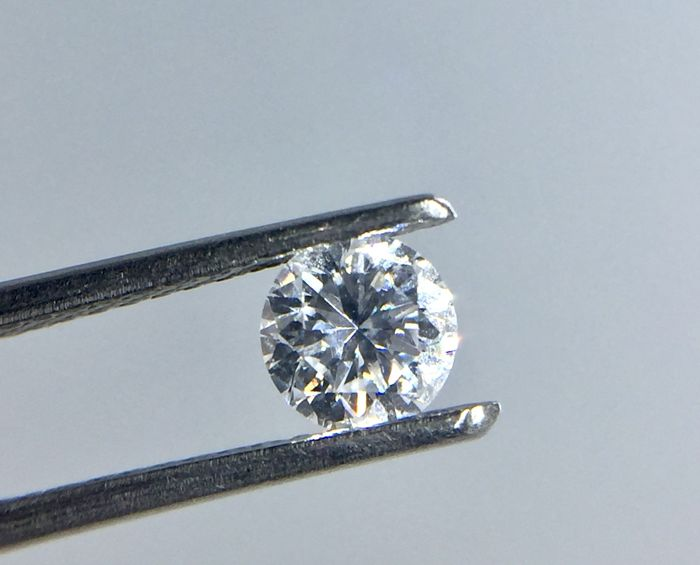 1 pcs Diamante - 0.44 ct - Brillante, Redondo - D (incoloro) - SI1