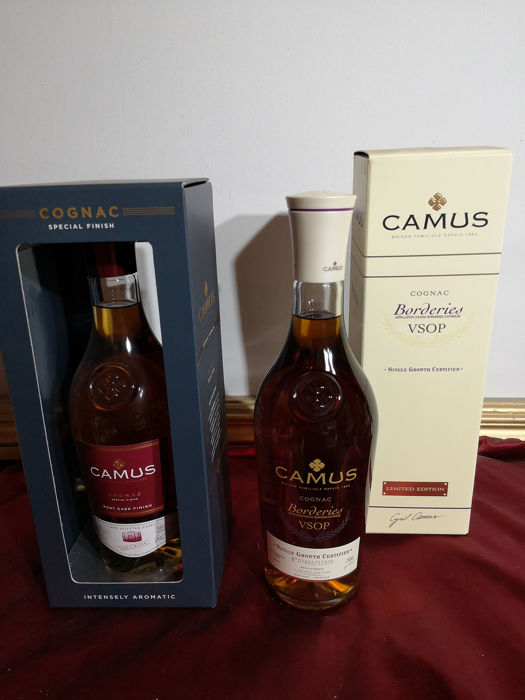 Camus - Port Cask Finish cognac limited edition & Borderies VSOP cognac - 70cl - 2 flessen