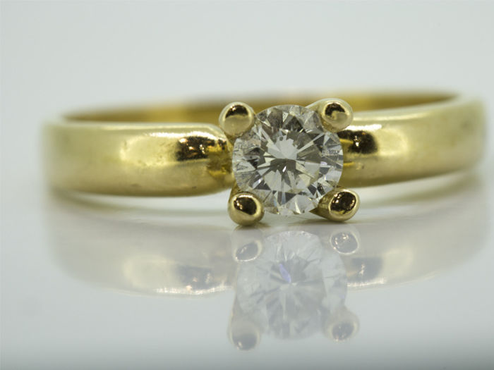 14 quilates Oro amarillo - Anillo - 0.21 ct Diamante
