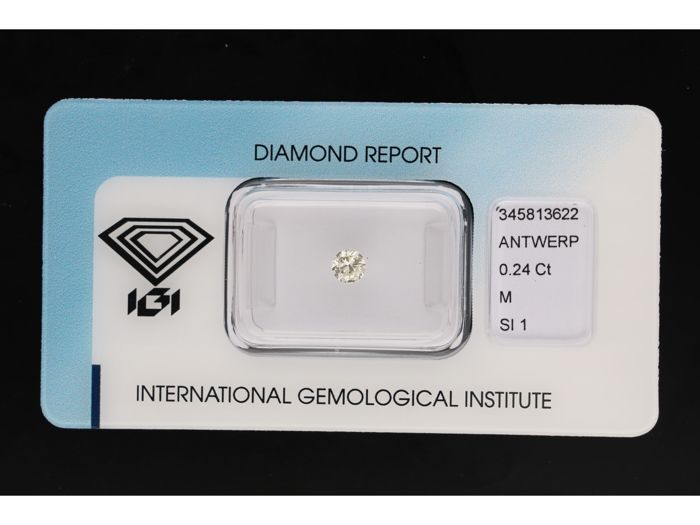 1 pcs Diamante - 0.24 ct - Brillante - M - SI1