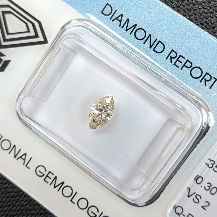 Diamante - 0.30 ct - Marquesita - Very Light Yellow Brown - IGI Antwerp - No Reserve Price, VS2