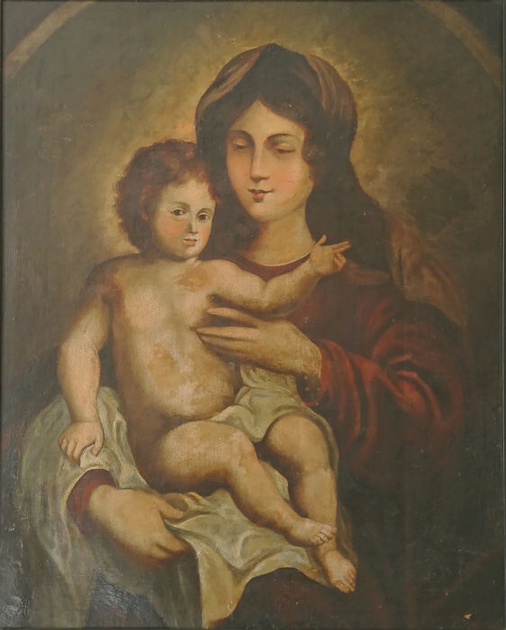 """""""The virgin with the child"""" - Oil on canvas - First half 19th century"""