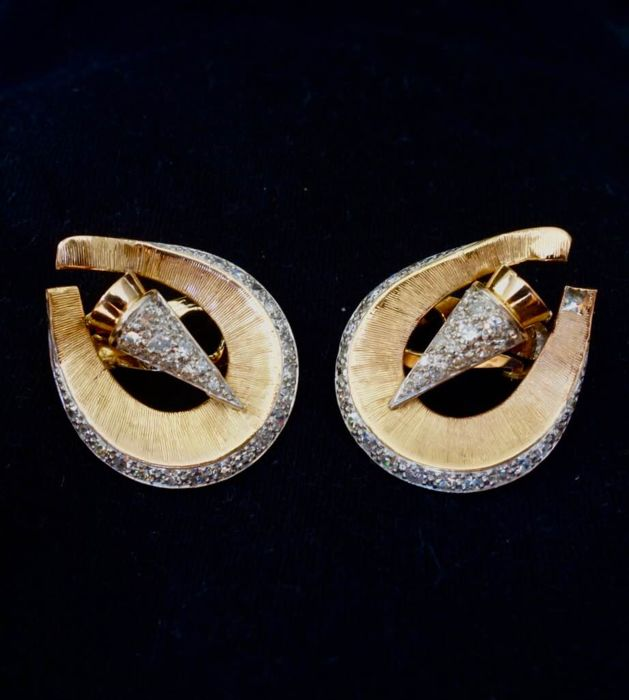 18 kt. Pink gold, White gold - Earrings - 2.92 ct Diamond