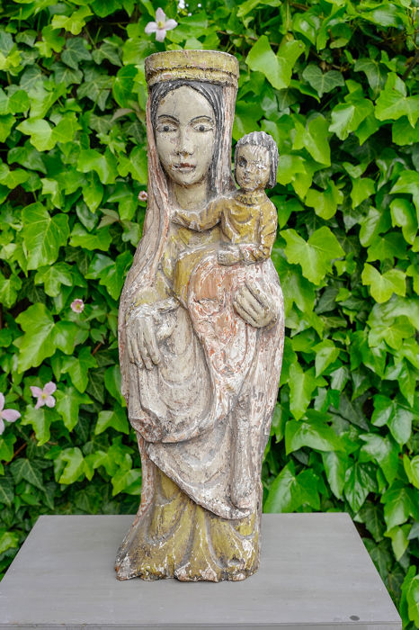 Madonna with child - Escultura de madera (1) - Madera y yeso - siglo XIX