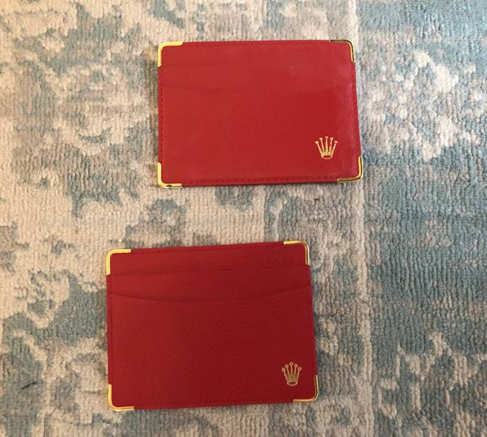 Rolex - 2x rolex vintage Card holders  - red both with golden rolex  coronet  - Unisex - 1990-1999
