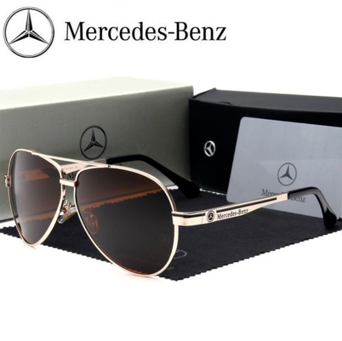 Mercedes Sunglasses - Mercedes-Benz - Men's Mercedes Aviator Designer Sunglasses + Case Gold & Brown - 2018