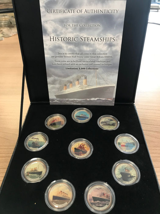 Royaume-Uni - ½ Penny 'Historic Steamships Collection' in kleur (10 stuks) in box