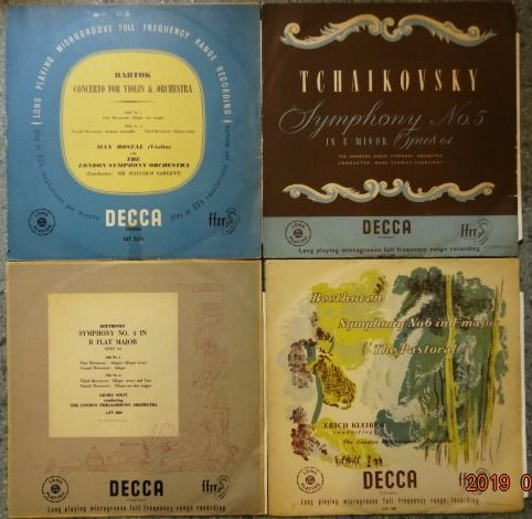 Max Rostal, Malcolm Sargent, Georg Solti, Erich Kleiber. - Multiple artists - 4 early Classical DECCA LP releases from England. - Multiple titles - LP's - 1951/1954